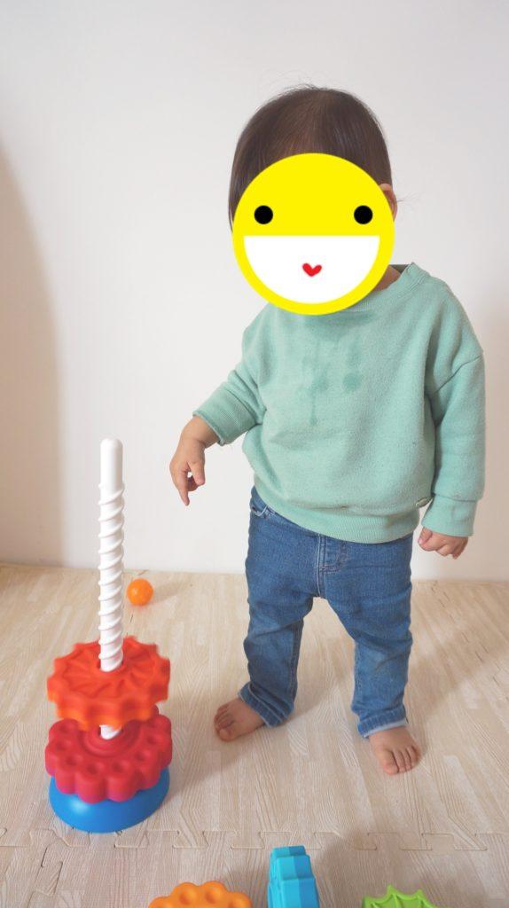 SpinAgainで遊ぶ息子